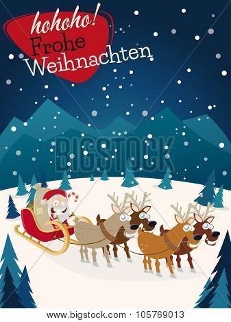 german christmas greetings Frohe Weihnachten with santa claus and reindeers