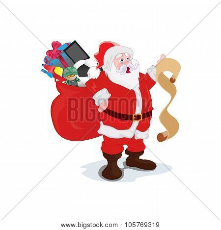 Santa Claus reading a long list of gifts and carrying sack full of gifts, vector illustration