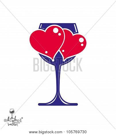 Valentine's Day Theme Vector Illustration. Glass Of Wine With Two Loving Hearts, Romantic Design Con