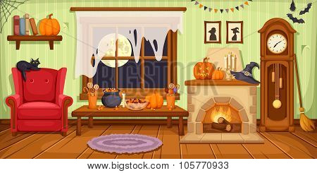 Halloween room interior. Vector illustration.