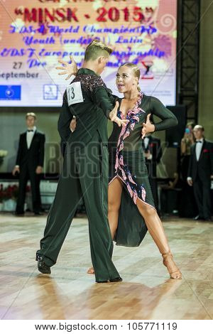 Minsk,belarus-september 27,2015:krupskiy Vladislav And Hatyushina Aleksandra Perform Youth Latin-ame