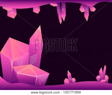 Mysterious cave with magical crystals. Background for the game. Vector illustration