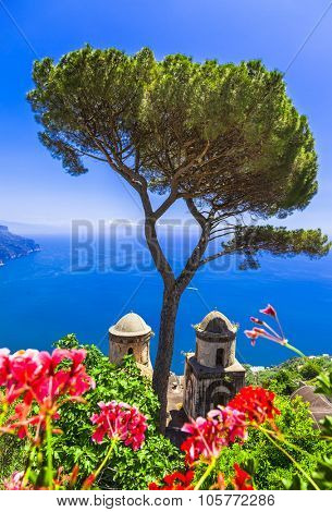 scenic Amalfi -beautiful views and beautiful churches.Ravello, Italy
