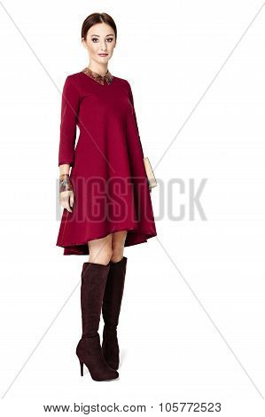 Beautiful Woman In Claret Dress