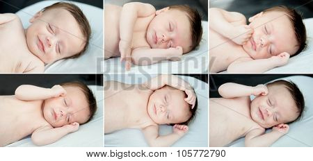 Sequence of six photos with a beautiful baby sleeping