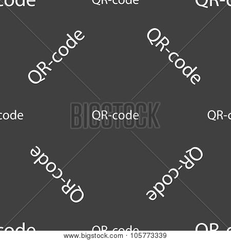 Qr-code Sign Icon. Scan Code Symbol. Seamless Pattern On A Gray Background. Vector