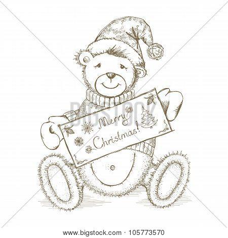 Vector Christmas Card with toy bear