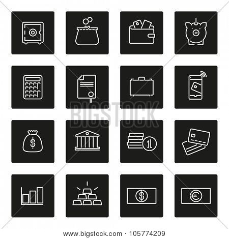 Money and finance line icon collection. Set of 16 money and finance related line icons in black squares