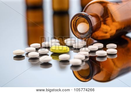 many tablets glasbegh�¤ter. symbol photo for costs in medicine and addiction and drugs.