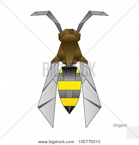 Origami paper wasp vector illustration