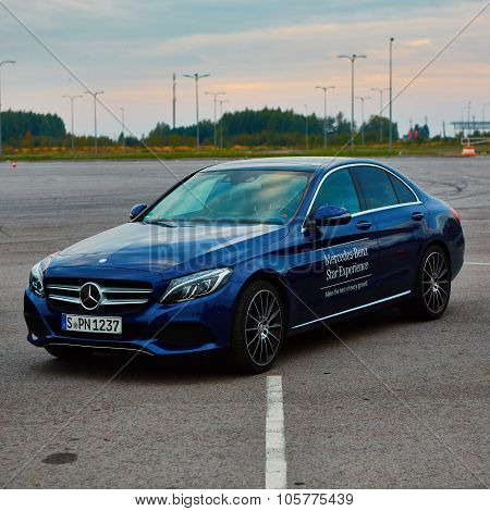 Lviv, Ukraine - OCTOBER 15, 2015: Mercedes Benz star experience. The interesting series of test driv
