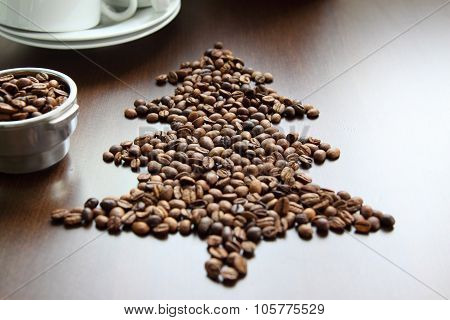 Christmas Tree Made Of Coffee Beans.2