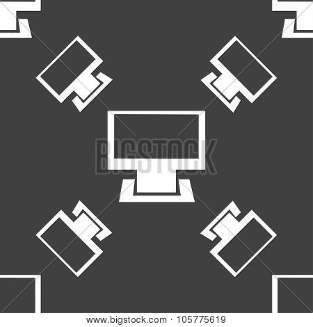 Computer Widescreen Monitor Sign Icon. Seamless Pattern On A Gray Background. Vector