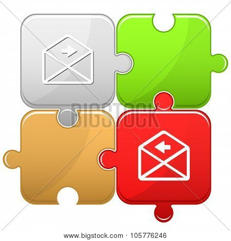 mail right arrow. Raster puzzle. Raster illustration.