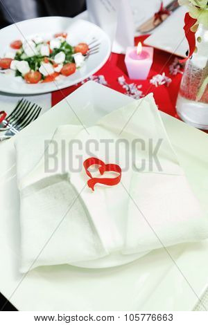 Romantic table setting for Valentines day