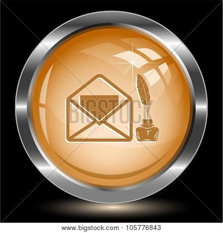 mail with feather and inkstandn. Internet button. Raster illustration.