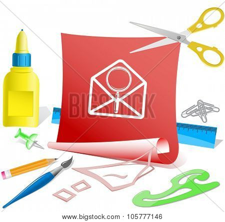 open mail with magnifying glass. Paper template. Raster illustration.