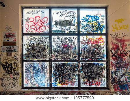Graffiti Painted Illegally On Public Wall In Potenza, Italy