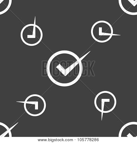 Check Mark Sign Icon. Checkbox Button. Seamless Pattern On A Gray Background. Vector