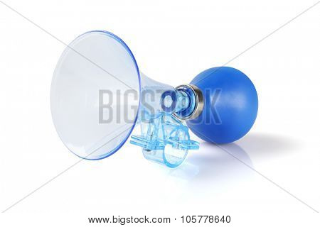Blue Plastic Bicycle Air Horn on White Background