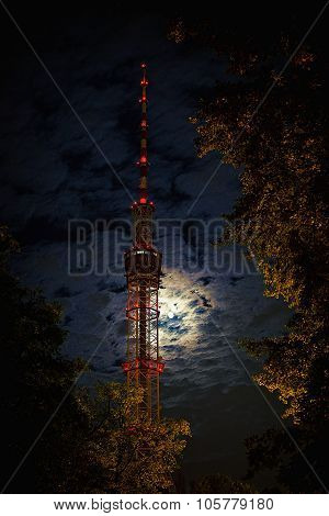 Kyiv TV tower at night