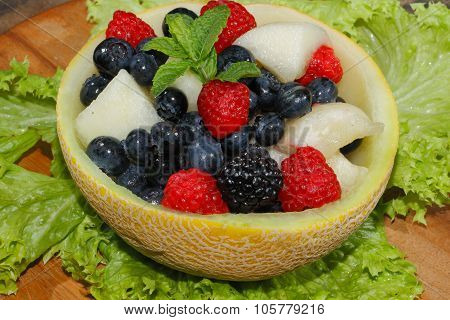Galia Melon, Cantaloupe, Raspberries, Blackberries, Blueberries