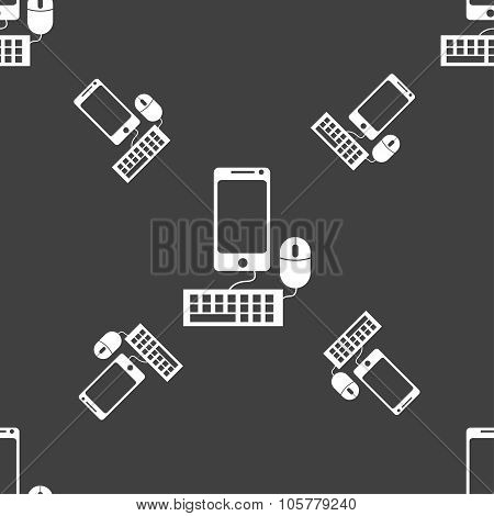 Smartphone Widescreen Monitor, Keyboard, Mouse Sign Icon. Seamless Pattern On A Gray Background. Vec