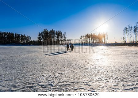 fishermen with their catch is going on ice