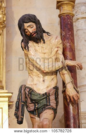Statue Of Jesus On Good Friday In Burgos Cathedral