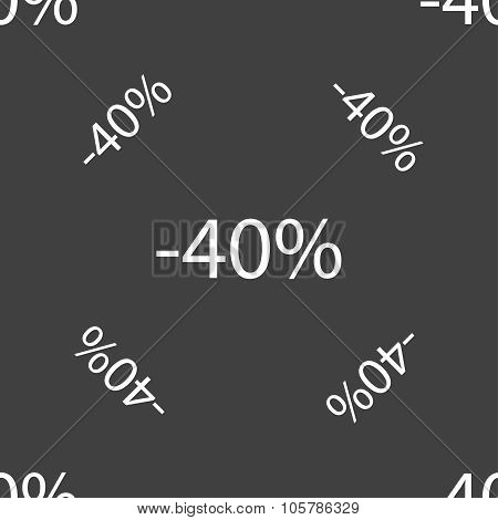 40 Percent Discount Sign Icon. Sale Symbol. Special Offer Label. Seamless Pattern On A Gray Backgrou