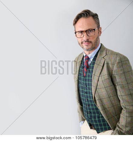 Stylish guy with classic fashion style, isolated