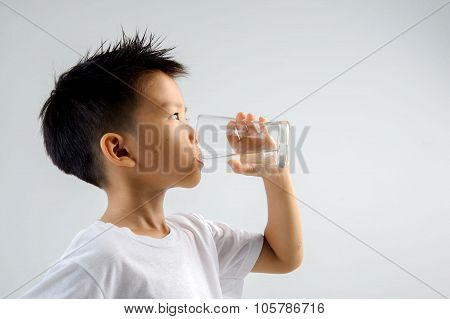 Boy Drink Water From Glass