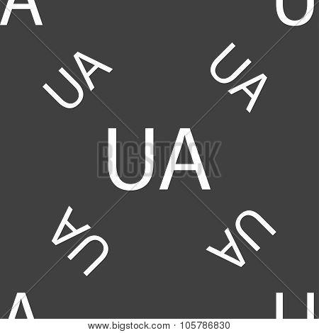 Ukraine Sign Icon. Symbol. Ua Navigation. Seamless Pattern On A Gray Background. Vector