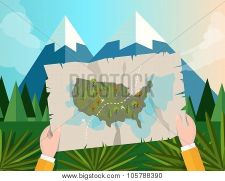 hand holding map america tracking hunting in forest mountain tree vector graphic illustration cartoo