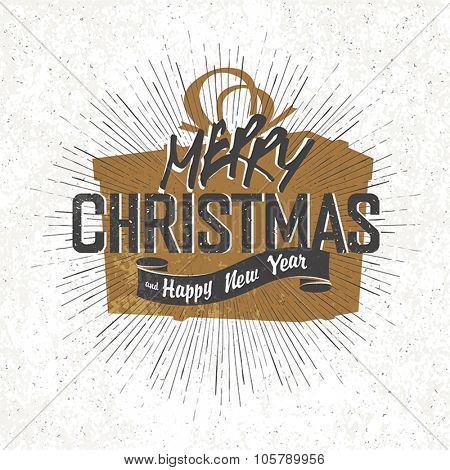 Merry Christmas Vintage Monochrome Lettering with Christmas gift box silhouette on background