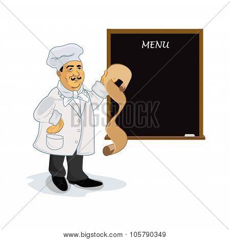 cook with blank recipe menu chalkboard, vector illustration