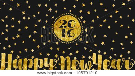 Starry Night New Year Greetings - Happy New Year greeting card with gold foil on black background littered with stars, 2016 holiday card