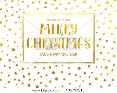 Polka Dotted Holidays - Simple Christmas and New Year greeting card with irregular, uneven hand drawn polka dots, gold foil on white