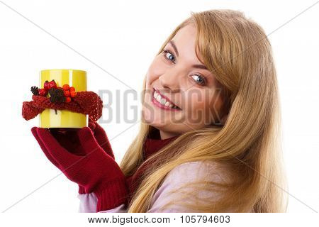 Smiling Woman In Woolen Gloves With Decorated Cup Of Tea, Autumn Decoration