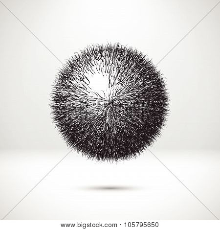 Abstract ball with curvy needles