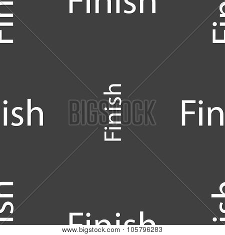 Finish Sign Icon. Power Button. Seamless Pattern On A Gray Background. Vector