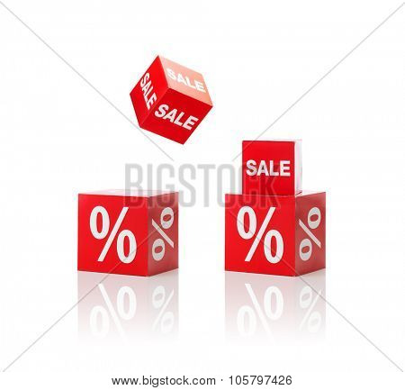 shopping, retail and merchandising concept - set of boxes with sale and percent sign