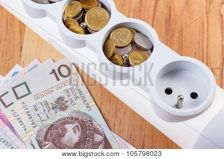 Electrical Power Strip And Polish Currency, Energy Costs