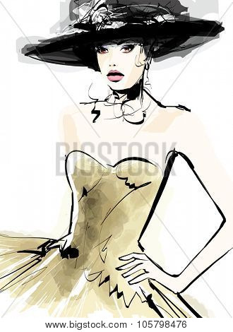 Fashion woman model with a hat - vector illustration