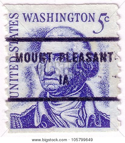 Usa - Circa 1950: A Stamp Printed In Usa Shows Image Portrait George Washington (1732 -1799), Was Th