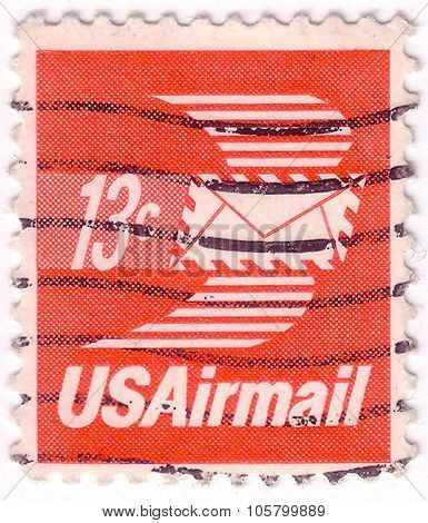 Usa - Circa 1973: A Stamp Printed In United States Of America Shows Envelope With Wings, Airmail, Ci