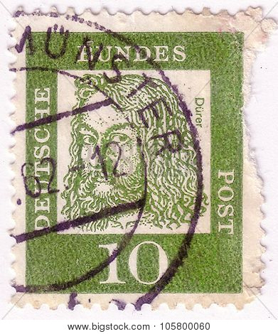 Germany - Circa 1961: A Stamp Printed In Germany Shows Portrait Of Albrecht Durer (painter And Engra