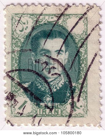 Iran - Circa 1957: A Stamp Printed In Iran Shows Portrait Of Mohammad Reza Shah Pahlavi (1919-1980),