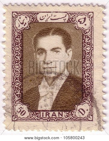 Iran - Circa 1952: A Stamp Printed In Iran Shows Image Of Mohammad Reza Shah Pahlavi, Shah Of Iran F