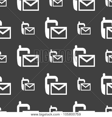 Mail Icon. Envelope Symbol. Message Sms Sign. Seamless Pattern On A Gray Background. Vector